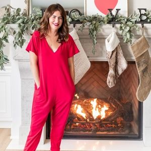 Jilly Box Sunday Romper in Jilly Red